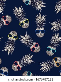Hand has drawn pineapple with sunglasses. Pattern exotic tropical fruit. Sketch. Pop art. Perfect for invitations greeting card, poster.