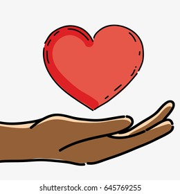 hand with heart to celebrate freedom juneteenth