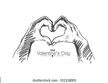 Hand heart gesture, Hand Drawn Sketch Vector illustration.