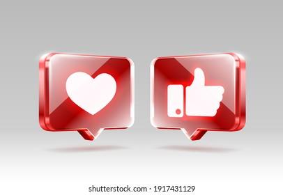 Hand and heart like icon, sign follower 3d banner, best post social media. Vector illustration