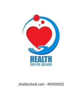 hand and heart logo. icon health