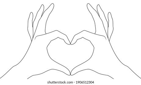 Hand heart. Making heart sign with both hands.