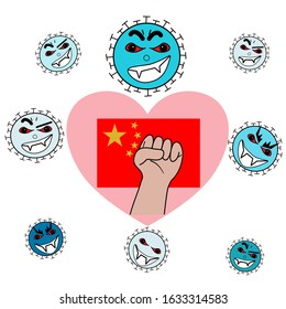 hand and heart proud for encouraging Chinese fighting coronavirus with love from on white background