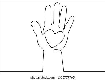 Hand with heart. Raised hands volunteering vector concept one line