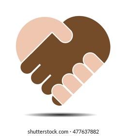 Hand in hand heart shape vector illustration.