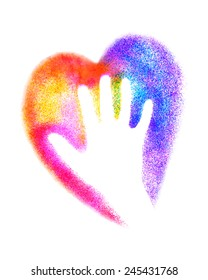 Hand with heart. Vector colorful graffiti illustration. EPS10.
