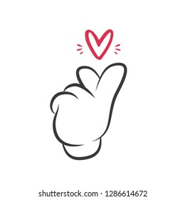 Hand Heart Vector, Hand Sign, Love Signal, Finger Heart, Love Icon, Love Hand Gesture, Sign Language, Love Language, Illustration Background