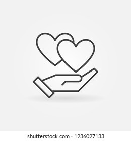 Hand with hearts vector icon or symbol in thin line style