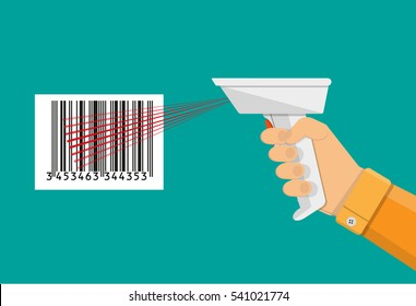 hand held barcode scanner. vector illustration in flat design on green background.