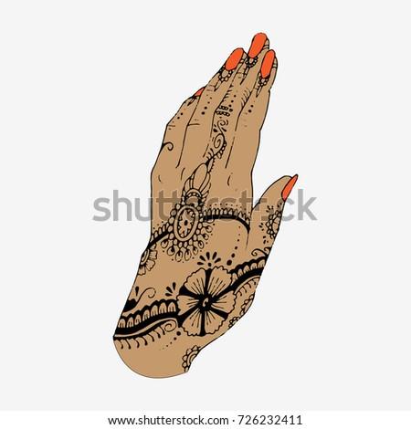 Hand Henna Tattoo Hand Drawn Sketch Stock Vector Royalty Free