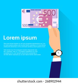 Hand hold 500 Euro Banknote Flat Design with Shadow Vector Illustration