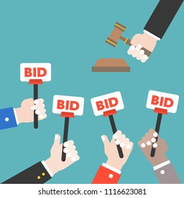 Hand hold bid sign and judge hammer, Auction bidding concept, flat design