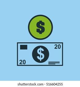 hand hold bill dollar money vector illustration eps 10