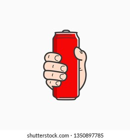 Hand hold can. Male hand holding aluminium red can on white background