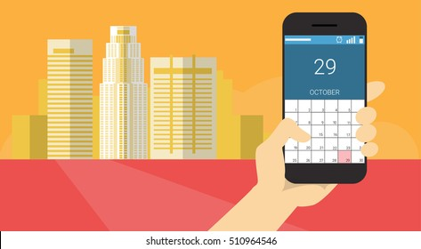 Hand Hold Cell Smart Phone Application Online Calendar Banner Flat Vector Illustration