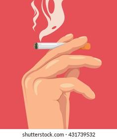 Hand hold cigarette. Smoking kills. Burning cigarette. Vector flat cartoon illustration