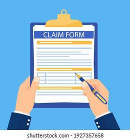 Hand hold clipboard with claim form on it, paper sheets, Pen in hand. Concept of fill out or online survey insurance application form. Vector illustration in flat style