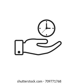 Hand hold a clock outline icon. Vector isolated time economy illustration.