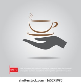 hand hold coffee cup vector icon