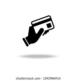 Hand hold a credit card icon vector illustration.