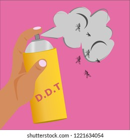Hand hold a DDT spray bottle to Get rid of insects,insecticides.
