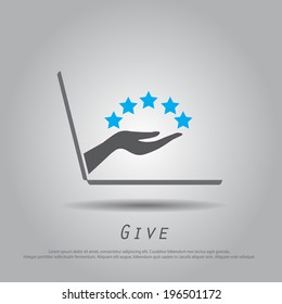 hand hold five star  from laptop vector icon