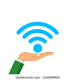 Hand hold free WiFi icon isolated on white background. Wireless internet connection concept. Network logo. Vector flat design.