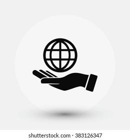 hand hold globe - vector icon