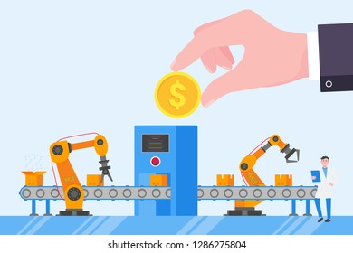 Hand hold golden coin abive industrial conveyor. Smart industry 4.0 and technology assembly line flat style design vector illustration invectment concept.