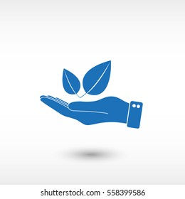 hand hold leaf -  blue vector icon