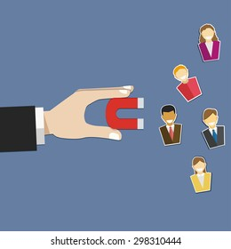 Hand hold magnet attract customer in flat design  . Vector illustration .