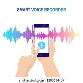Hand hold mobile phone, smartphone isolated on background. Voice recognition, equalizer, audio recorder. Microphone button with sound wave. Symbol of intelligent technology. Vector design for tech app