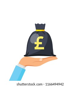 Hand hold money bag icon, moneybag simple cartoon with gold drawstring and British Pound sterling sign isolated on white background. Coins. Vector flat illustration.