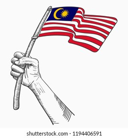 Hand Hold National Flag of Country