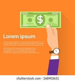 Hand hold One Hundred 100 Dollars Banknote Flat Design with Shadow Vector Illustration
