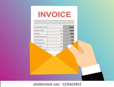 Hand hold an open envelope with invoice letter, Flat design.