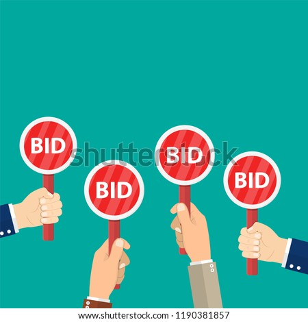 Hand Hold Paddle With BID Auction Meeting Business Bidding Process ConceptTemplate For