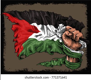 hand hold palestine old flag