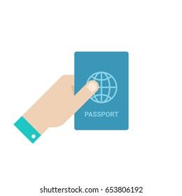 Hand hold passport. Flat style vector illustration