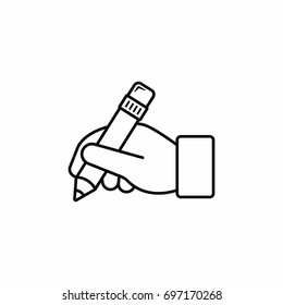 Hand hold pencil outline icon. Hand writing icon. Vector line illustration.
