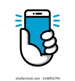 Hand hold phone logotype. Hand hold smartphone. Vector illustration. Smart phone linear logo symbol. Vector logotype.