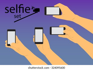 hand to hold the phone and make a set of self