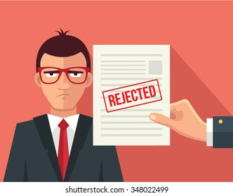 Hand hold rejected paper document. Vector flat illustration