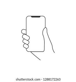 Hand hold smartphone icon. Flat design. Vector illustration.