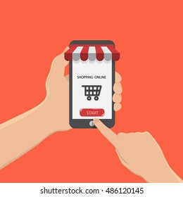hand hold smartphone and start buy shopping online