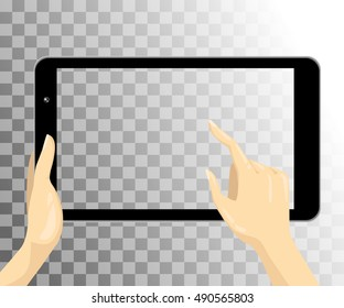 Hand hold tablet isolated on a transparent background. Vector illustration.