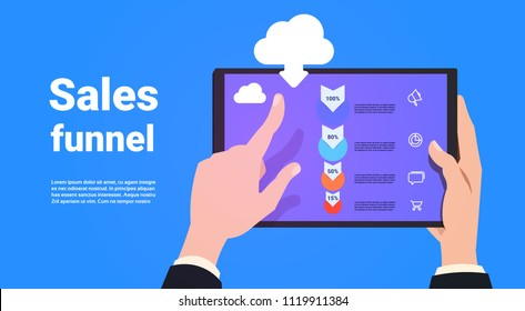 hand hold tablet mobile application synchronization sales funnel with steps stages business infographic. purchase diagram concept over blue background copy space flat design vector illustration