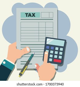 Hand hold tax form, calculator and pen. Tax payment concept