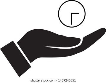 Hand hold time icon - Hand hold clock icon. Flat icon. Best icon - Vector.
