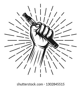 Hand hold vape pen or electronic cigarette with rays vector black illustration in vintage style, decorative object isolated on white background